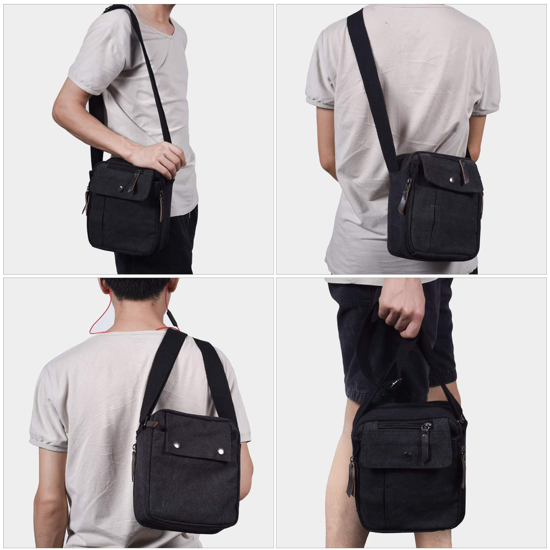 Mens Multifunction Canvas Crossbody Shoulder Bag Outdoor Travel Small Satchel Bag,Multi-Pocket Purse Handbag Organizer Bag,Black by dealcase (Image #5)