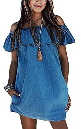 Bestfort Damen Jeanskleid Flounce Wort Schulter Denim Kleid