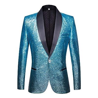 CARFFIV Men Fashion Shiny Gradient Color Suit at Amazon Men's Clothing store