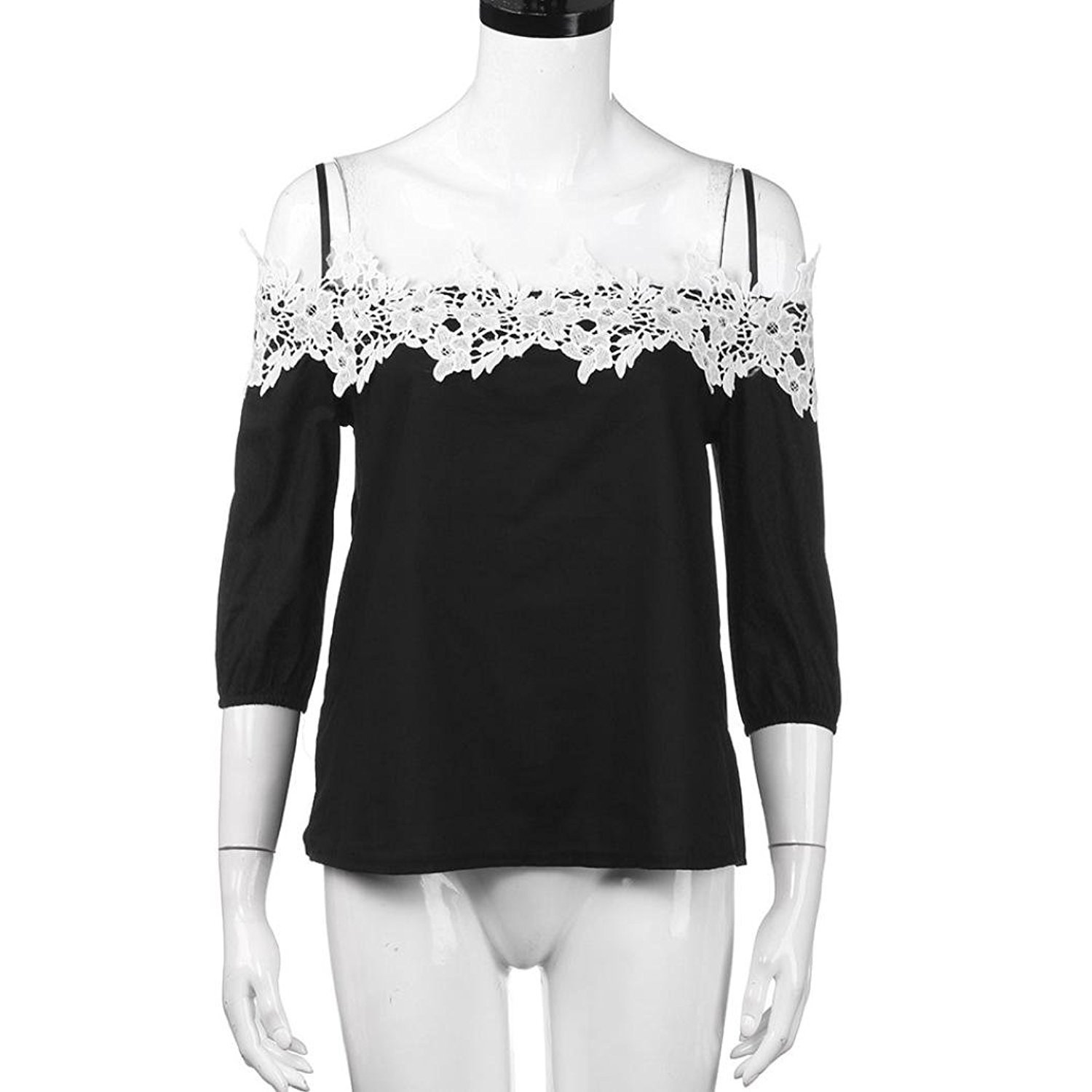 e57612834b0 HARRYSTORE Womans Bardot Tops, Womens Off Shoulder Lace T-Shirt Top Ladies  Tops Tee Blouse: Amazon.co.uk: Clothing