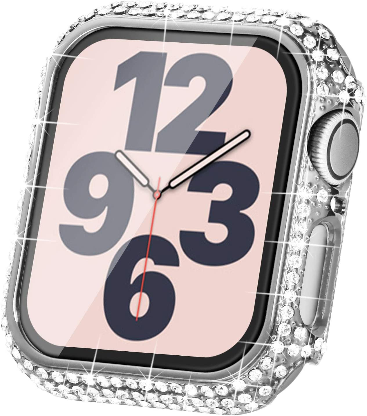 Surace Compatible with Apple Watch Case 44mm for Apple Watch Series 6/5/4/3/2/1, Bling Cases with Over 200 Crystal Diamond Protective Cover Bumper for 38mm 40mm 42mm 44mm (44mm, Silver)