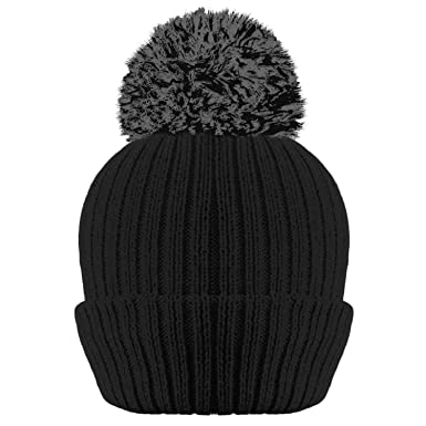 fff8711e4fa LADIES WOMENS RIBBED THINSULATE LINED BOBBLE POM POM HAT-BLACK   Amazon.co.uk  Clothing