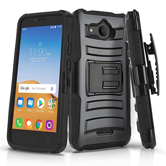 Phone Case for [ALCATEL Tetra (5041C)], [Refined Series][Black] Shockproof  Cover with [Kickstand] & [Swivel Belt Clip Holster] for Alcatel Tetra