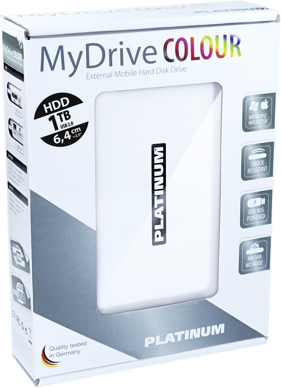 Platinum MyDrive 1 TB Externe Festplatte (6,4 cm (2,5 Zoll), 5400 Umin, 8 ms, 8 MB Cache, USB 2.0) weiß
