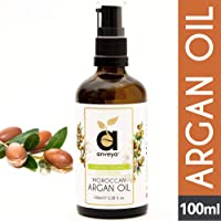 Anveya Pure Argan Oil sourced from Morocco, Cold Pressed Organic, 100ml, for Hair, Skin & Anti-Ageing Face Care