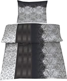Baumwolle Biber Bettwäsche 140x200 Cm 70x90 Cm Mirco Grau Silber