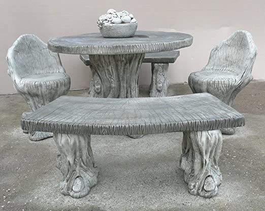 Muebles de jardín - piedra bosque bancos y juego de mesa de diseño ...