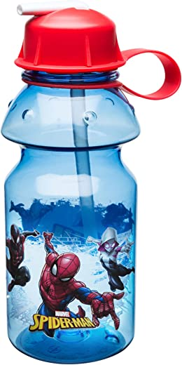 Zak Designs Marvel Comics Spider-Man Kids Water Bottle with Straw and Built-in Carrying Loop, Durable Bottle Has Wide Mouth and Break Resistant Design is Perfect for Kids (14oz, Tritan, BPA-Free)