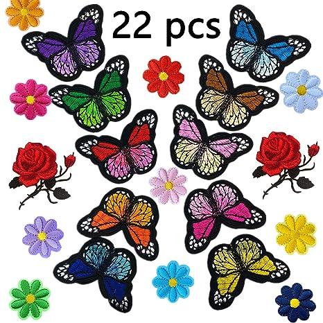 20 Handmade Crochet Applique 5-8 Petal Flowers// Butterflies Decorn Colours Avail