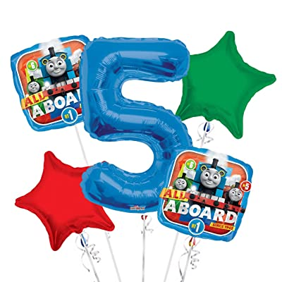 Thomas the Tank Balloon Bouquet 5th Birthday 5 pcs - Party Supplies: Toys & Games