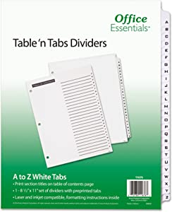 Office Essentials 11676 Table 'n Tabs Dividers, 26-Tab, Letter