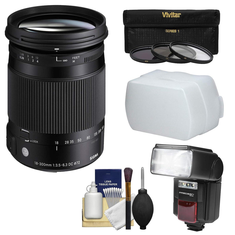 Sigma 18 – 300 mm f / 3.5 – 6.3コンテンポラリーDCマクロHSMズームレンズwith 3フィルタ+フラッシュ+ディフューザー+キットfor Sony Alpha α 100 DSLRカメラ   B01G90KEHI