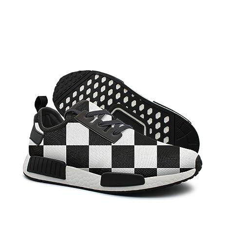 830c844cd814d Amazon.com: WhiteUnicorn Men's Checkered Flag Sneakers Casual ...