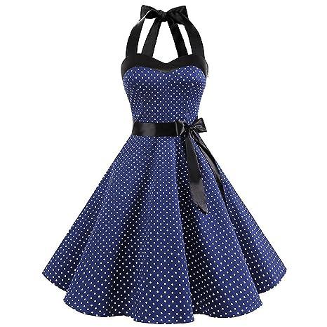 TEBAISE Damen Vintage Retro 1950er Rockabilly Neckholder Kleid Knielang Polka Dots Elegant Festlich Cocktailkleider Sommer Ka