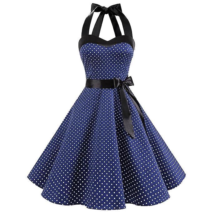 Petticoat Polka Vintage Neckholder Mit Berimaterry Damen Festliche Cocktailkleid Kleider Rockabilly Abendkleid 1950er Dots Punkte Retro T1lKFJc3