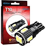 Yorkim 7th Generation 6-SMD 5730 chipset T10 LED Bulbs, 194 168 LED Light Bulbs for Car Interior Dome Map Door Courtesy License Plate Lights – Wedge T10 W5W 194 168 2825 (Pack of 10) – White