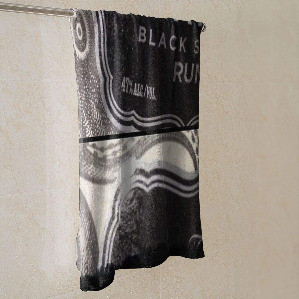 Genertic Serviette de Toilette Kraken Noir /épic/é Rhum Doux Super Absorbant en Coton personnalis/é Visage carr/é Doux et Doux