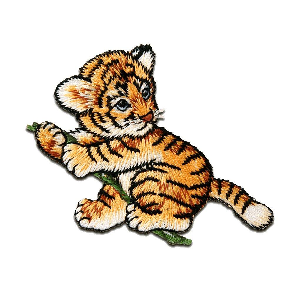 Patches Aufbügeln weiß 6,2x3,5cm Aufnäher // Bügelbild Bär liegt Tier
