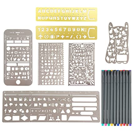 Petift Hollow Stainless Steel Journal Stencils And Fineliner Color Pen SetDrawing Painting Templates Ruler