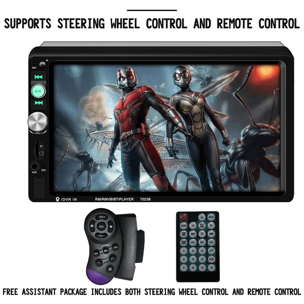 Upgraded 7 Inch Double Din Touch Screen Car Stereo Headunit with Free Rear Camera and Steering Wheel Control And Car Tuning Tools And Remote Control Support Mirror Link Audio Receiver MP5 Player by AUROADOR (Image #3)