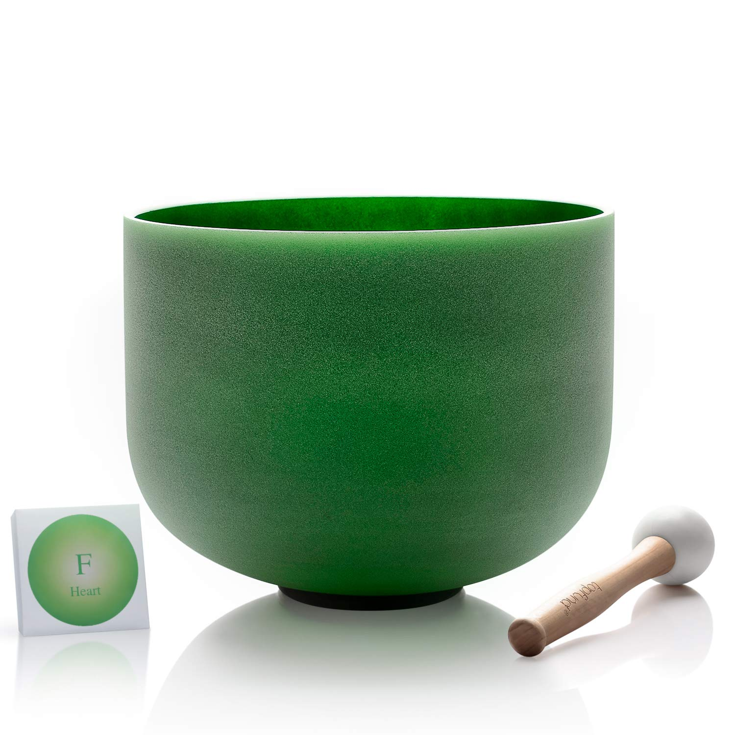 TOPFUND F Note Quartz Crystal Singing Bowl Heart Chakra Green Color 8 inch O-ring and Rubber Mallet Included by TOPFUND