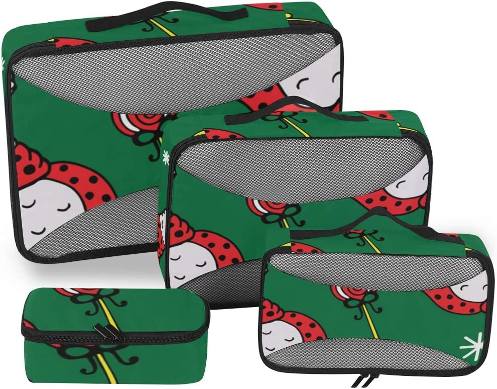4 Set Packing Cubes Travel Luggage Packing Organizers Lama In Cap And Scarf
