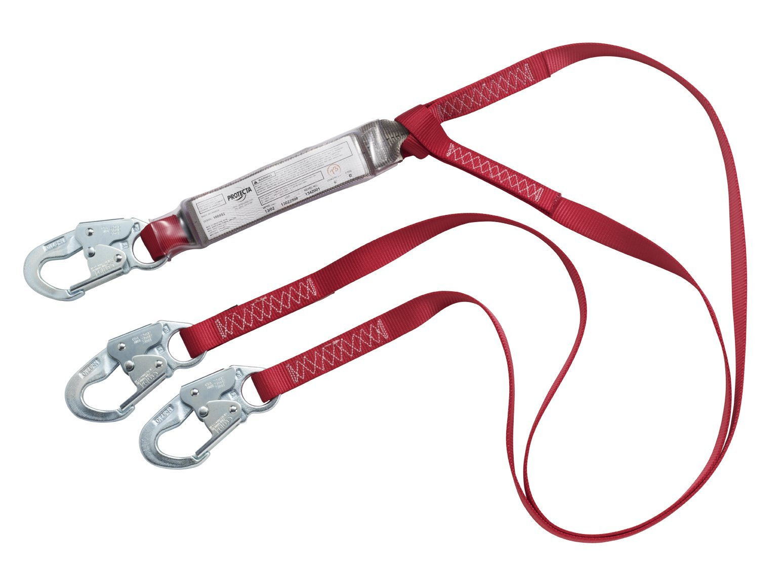 3M Protecta PRO Pack 1342001 6', 100-Percent Shock Absorbing Lanyard, Snap Hooks At Each End, Red/Gray