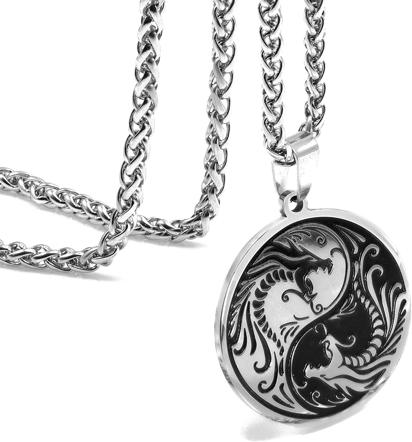 ZONICTA Dragon Yin Yang Necklace for Men - Jewelry Stainless Steel Amulet Pendant Necklace with Gift Bag
