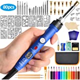 JAZIPO80Pcs Wood Burning Kit, Professional Soldering Iron Wood Burning Tool with Switch Adjustable Temperature 150~450 ℃, Creative Tool DIY Kit for Embossing/Carving/Soldering & Pyrography Tips