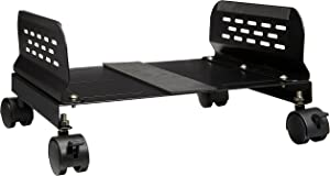 "IO Crest Mobile Desktop Tower Computer Metal Floor Stand Rolling Caster Wheels with Tall Support Walls and Adjustable Width from 5"" to 13"""