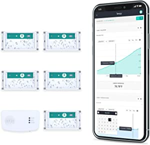 Tempy.io 5 Wireless Thermometer & Hygrometer Monitoring   Indoor/Outdoor Smart Temperature & Humidity Sensor w/Web App & Alerts for iPhone/Android, Tablets & Computers   Battery Powered & Long Range