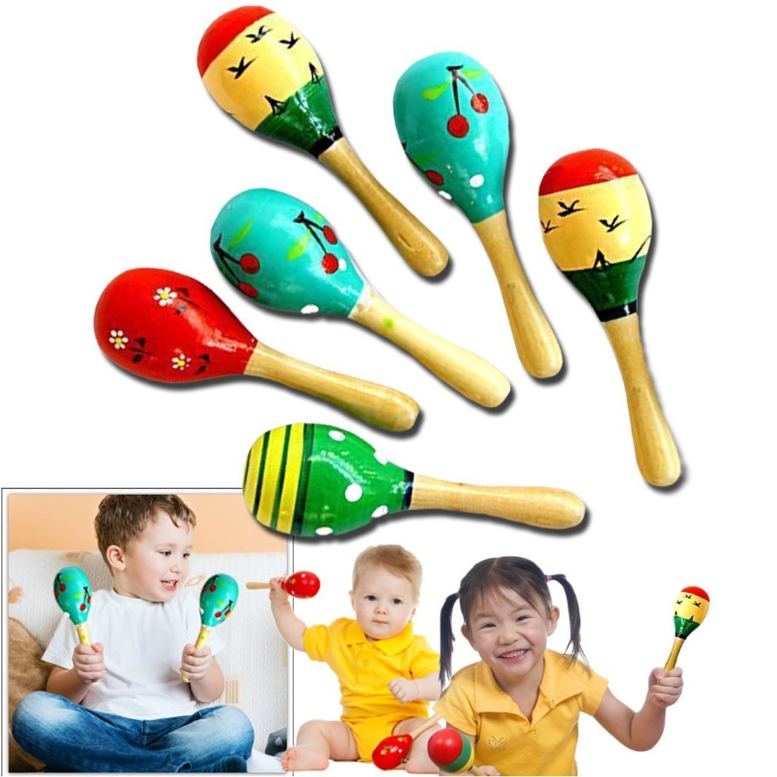 Maracas, Mini Maracas, Hochets Maracas, Jouets musicaux en bois pour les enfants bébé (couleur aléatoire) Jouets musicaux en bois pour les enfants bébé (couleur aléatoire) Isuper