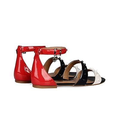 80614f5d566bb AJ Armani Jeans C5549 Sandale Femme Cuir Rouge 37  Amazon.fr ...