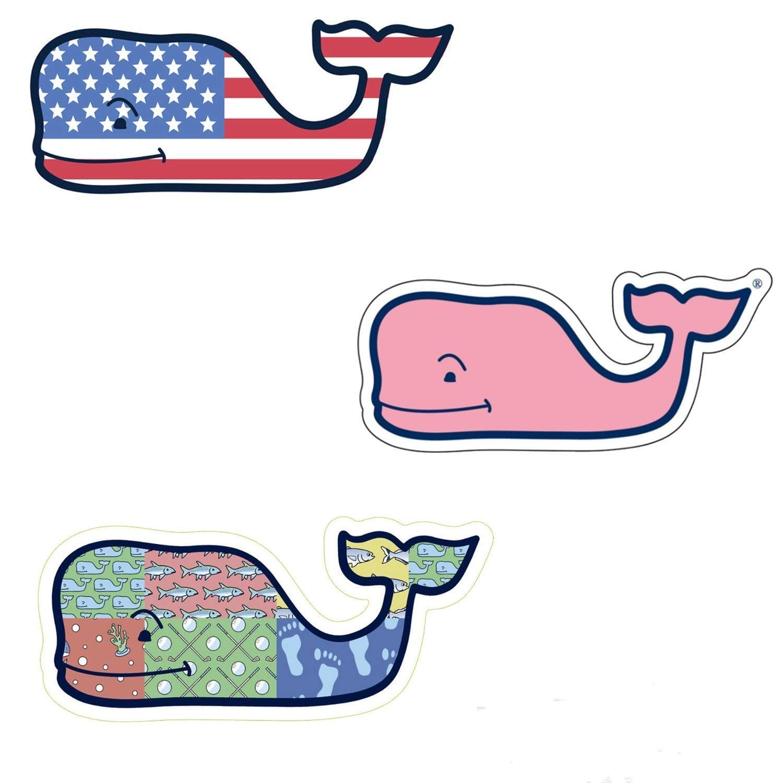 3X VINEYARD VINES Whale Vinyl Stickers - American Flag, Patchwork, Classic Pink - PREPPY 2.0 x 4.5 4336984470