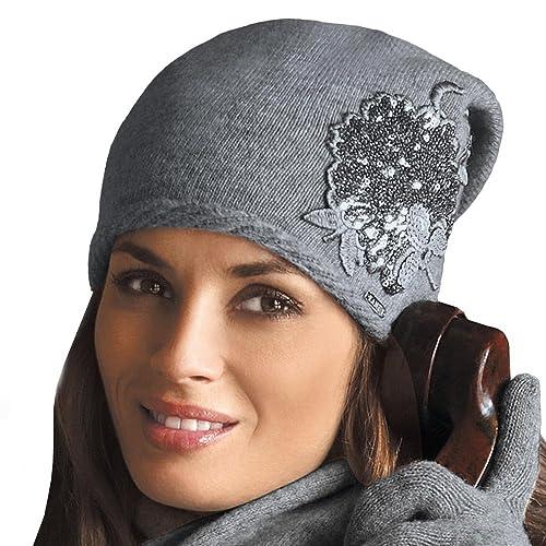 Kamea Juana cappello di lana, monocolore, con ornamenti floreali, invernale – fabbricato in UE