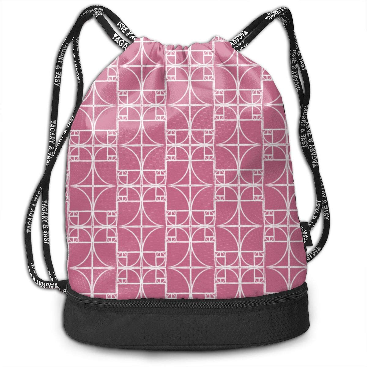 Orchid Fibonacci Spiral Drawstring Backpack Sports Athletic Gym Cinch Sack String Storage Bags for Hiking Travel Beach