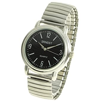 f3931f35d2480 montre-concept - Men's Analog Watch - Silver Metal Strap - mvs-1-0109 Black  Round Dial Silver Color Background: Amazon.co.uk: Watches