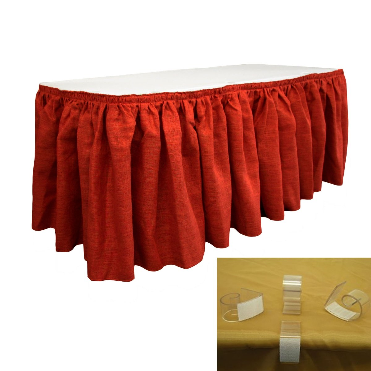 LA Linen SkirtBurlap14x29-10Lclips-Red Burlap Table Skirt with 10 L-Clips44; Red - 14 ft. x 29 in.