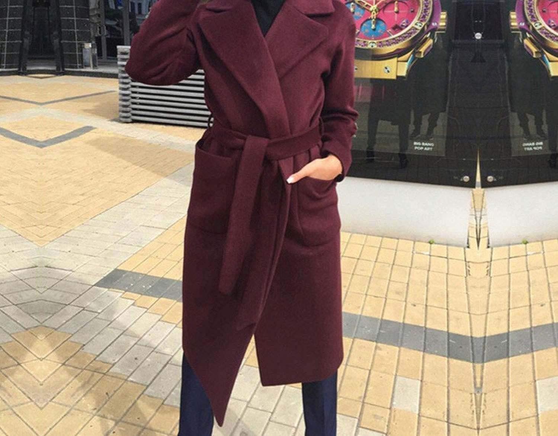Womens Elegant Woolen Plaid Coat Female Navy Long Coat Winter Autumn Women Wool Jackets Coat,Pink Coat,XL