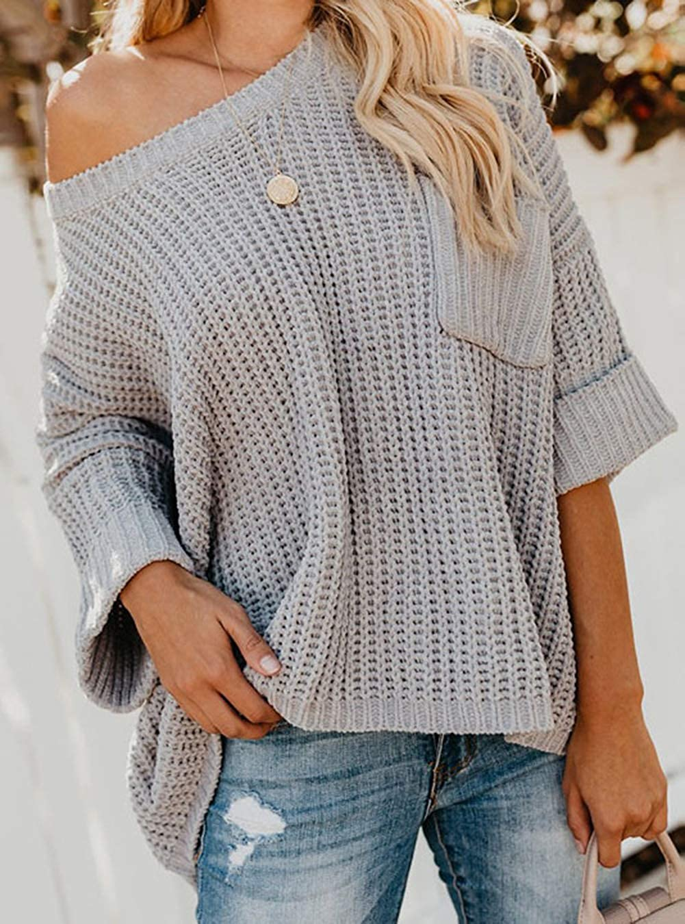 Epsion Womens Oversized Sweaters Pullover Off Shoulder Chunky Knitted Crewneck Casual Tops