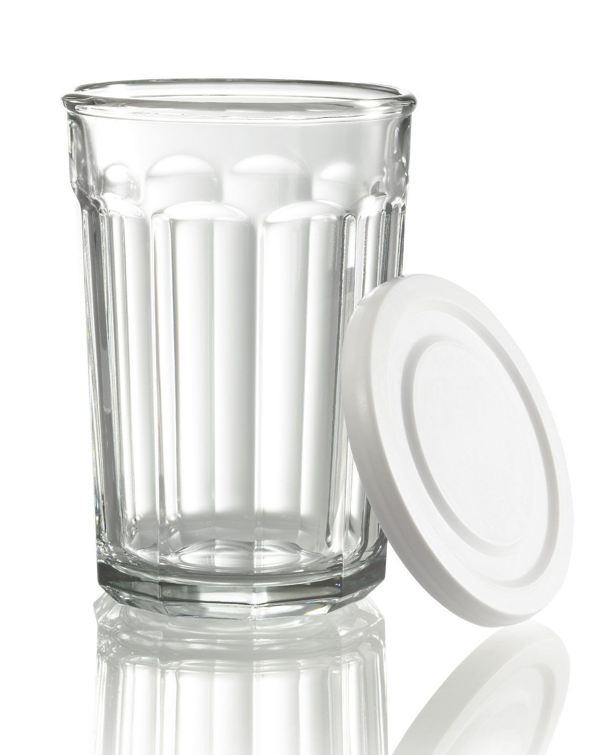 Arc International Luminarc Working Glass Storage Jar/Cooler with White Lid, 21-Ounce, Set of 4