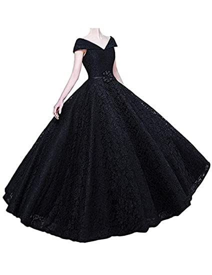 Stillluxury Swing Prom Dresses Cap Sleeve Lace Long Formal Evening Gowns Women Black Size 6