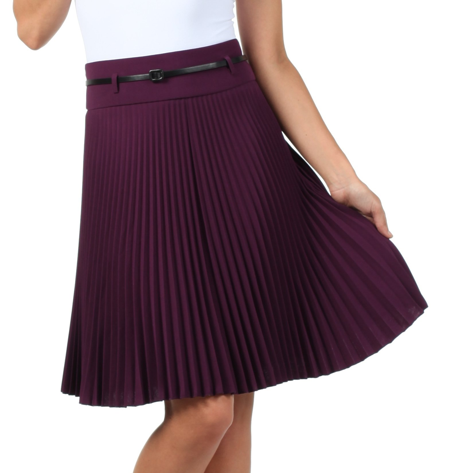 Sakkas FV3543 Knee Length Pleated A-Line Skirt with Skinny Belt - Purple/X-Large