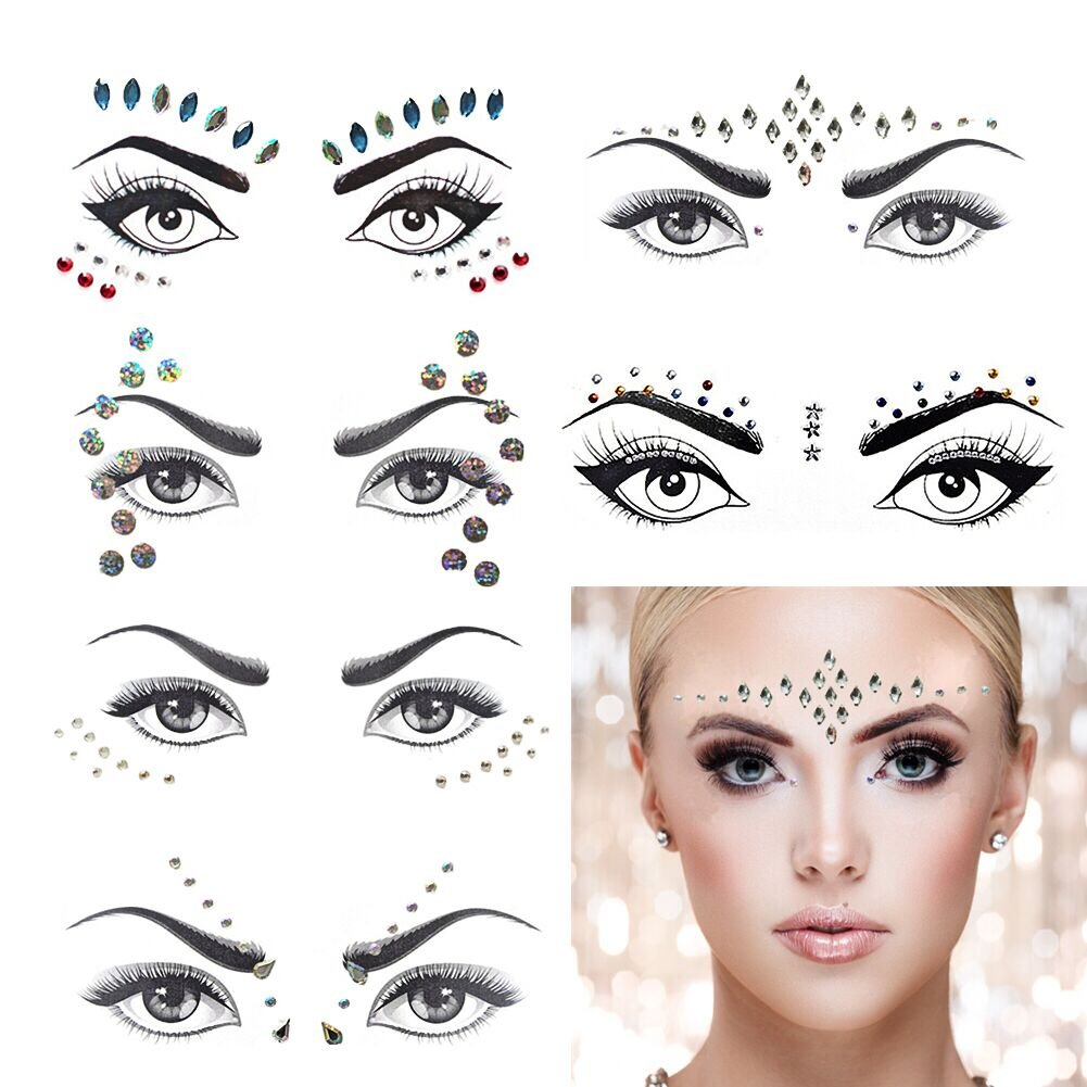 Mermaid Face Gems Rave Festival Face Jewels Stickers, Crystals Rainbow Tears Rhinestone Forehead Eyes Face Body Decorations, Face Tattoo Sticker for Costume Parties 6 Set