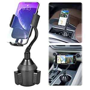 Car Phone Mount,Universal Smart Phone Adjustable Automobile Cup Holder Phones Mount for iPhone Xs/Max/X/XR/8 Plus /7 6 Samsung Galaxy S10/S9/ S8 Note 9 Nexus Sony、HTC、Huawei and All Smartphones