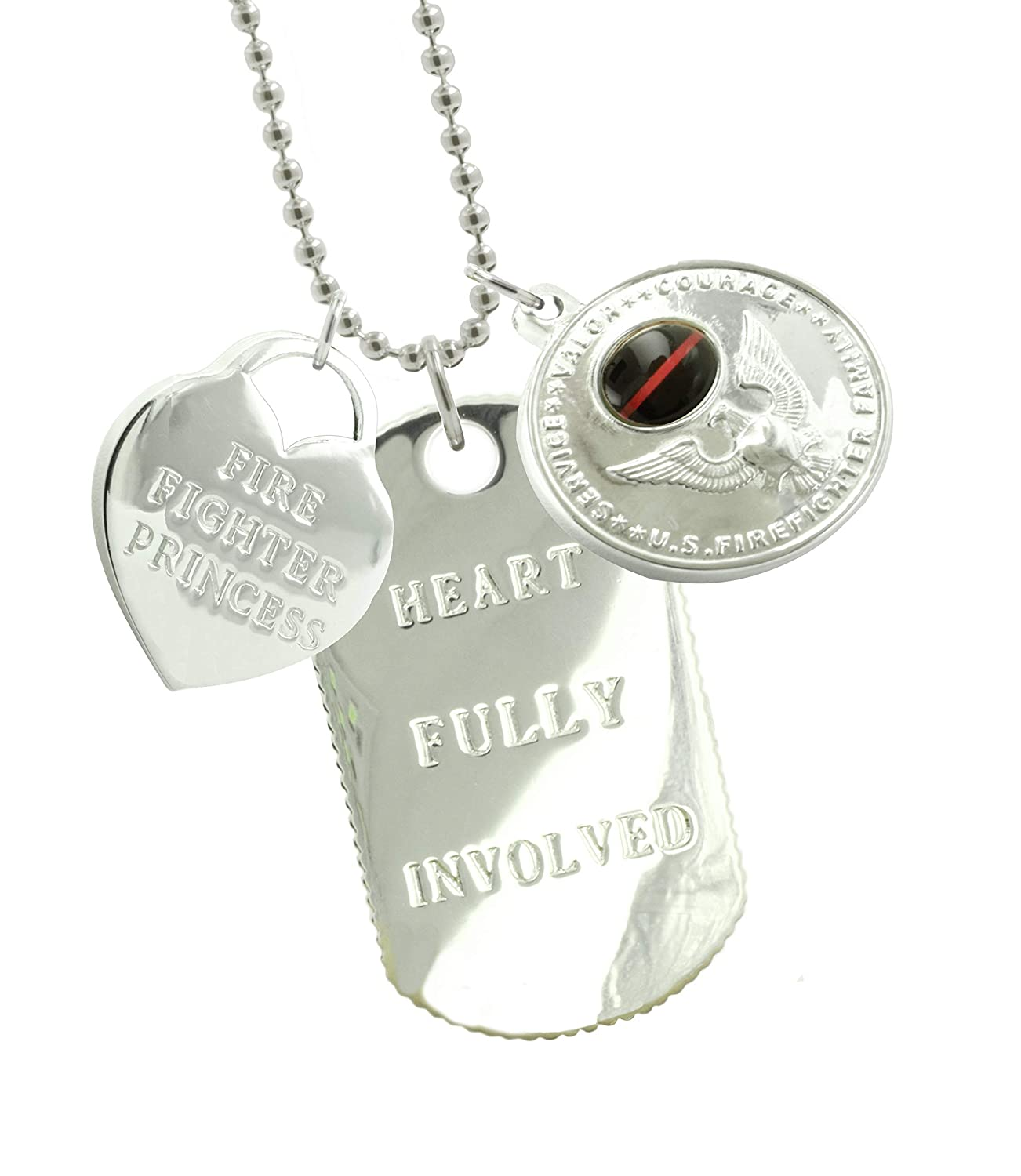 New York 925 & Co. Solid Sterling Silver Firefighter Girlfriend Dog Tag FF