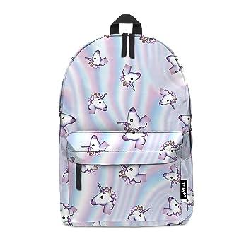 cf022b001a19 Fringoo® HOLO UNICORN Girls Boys Kids Backpack School Bag Rucksack Daypack  Travel Hand Luggage Emoji Hologram Bag (HOLO UNICORN)  Amazon.co.uk  Office  ...