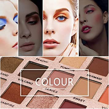 c709fe5ddb2 Halffle Matte Shimmer Eyeshadow Palette, 18 Colors Makeup Soft Natural Lip  Face shadow, Multicolor