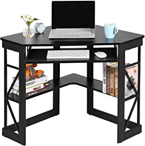 VECELO Corner Computer Writing Table with Smooth Keyboard Tray & Storage Shelves, Compact Home Office Desks,Black