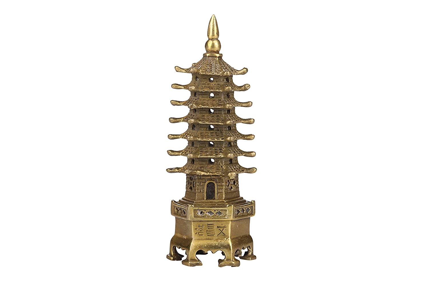 I-MART Wen Chang Pagoda, Feng Shui Brass Pagoda Statue, Chinese Fengshui Decor Enhancer for Protection and Wealth Luck (5.5 Inches)